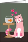 Cat & Goldfish Valentine card