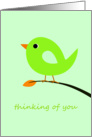 Green Bird Thinking of You card