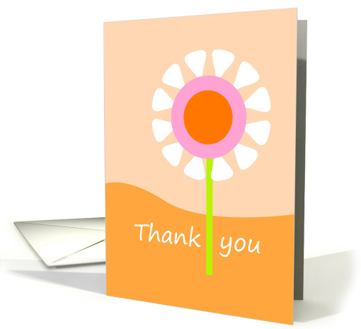 Thank you card with orange, pink & white flower card (800393)