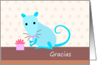 Blue Rat with Gift - Gracias card