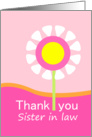 Thank you Sister in law-pink flower card