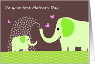 Cute Elephants for 1st Mother's Day card