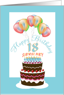 18th Surprise Birthday Party Cake Lit Candles and Balloons card