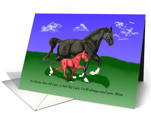 Walking Horse Mare and Foal Encouragement For Mom card (1122558)