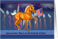 Independence Day Birthday Horse Colt Flag Candles & Fireworks card