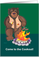 campfire Bear Cookout invitation card