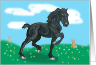 Black Friesian Foal Easter card