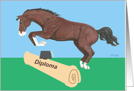 Jumping Horse College Graduation card