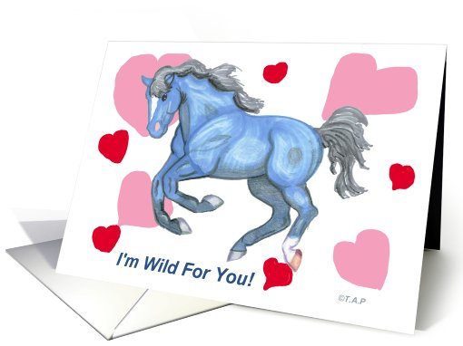 Valentine's Day Blue Horse card (570476)