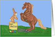 Easter Bunny with Horse card