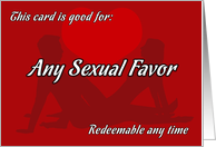 Sexual Favor coupon card