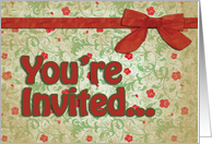 Red and Green Vintage Floral w/Bow, All-Occasion Invitations card