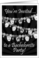 Bachelorette Party Invitations,Black/White Hanging Lanterns and Lights card