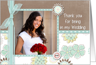 Thank You For Being In My Wedding Customizable Photo Card Any Relation card