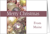 Maine - Merry Christmas Colored ornaments, purple/white card