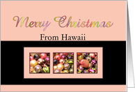 Hawaii - Merry Colored ornaments, pink/black card