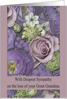 Sympathy Loss of your Great Grandma - Purple bouquet card