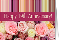 19th Wedding Anniversary Card Pastel Roses And Stripes
