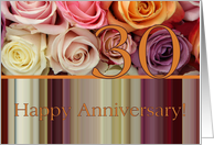 30th Wedding Anniversary Card - Pastel roses and stripes card