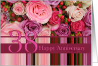 38th Wedding Anniversary Card - Pastel roses and stripes card