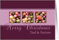 Dad & Partner - Merry Christmas, purple colored ornaments card