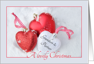Grandson & Partner - A Lovely Christmas, heart shaped ornaments card