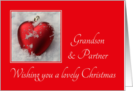 Grandson & Partner A Lovely Christmas Heart Shaped Ornaments card