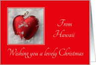 Hawaii - Lovely Christmas, heart shaped ornaments card