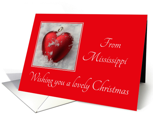 Mississippi - Lovely Christmas, heart shaped ornaments card (1113204)