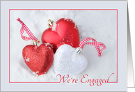 We're Engaged - Christmas engagement, heart shaped ornaments card
