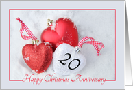 20th Christmas Wedding Anniversary, heart shaped ornaments card