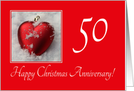 50th Christmas Wedding Anniversary, heart shaped ornaments card