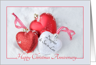 Daughter & Son in Law Christmas Anniversary, heart shaped ornaments card
