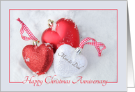 Mom & Dad Christmas Anniversary, heart shaped ornaments card