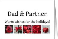 Dad & Partner - Red Collage warm holiday wishes card