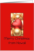 Hawaii Merry Christmas - Gold/Red ornaments card