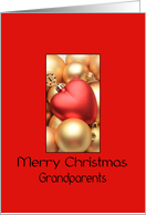 Grandparents Merry Christmas - Gold/Red ornaments card