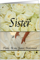 Sister - Be my Junior Bridesmaid - Girl holding dress card