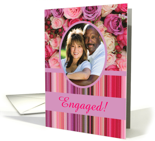 Engagement Announcement Custom Front Pastel Roses & Stripes card