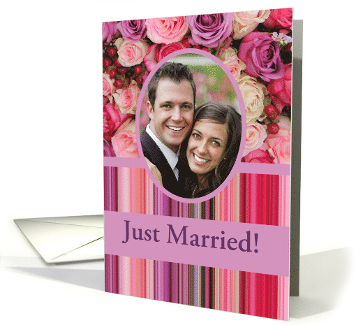 Just Married! - Custom Front - Pastel roses and stripes card (1179634)