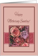 Happy Mothering Sunday Card Vintage look pink roses card