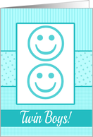 Twin Baby Boy Birth Announcement Photo Card Blue dots and stripes card