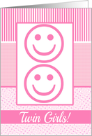 Twin Girls Birth Announcement Photo Card Pink dots card