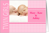 Twin Girls Birth Announcement Photo Card