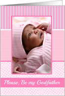 Girls Godfather Invitation Photo Card pink stripes card
