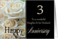 3rd Anniversary card for Daughter & Husband - Pale pink roses card