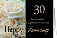 30th Anniversary card for Daughter & Husband - Pale pink roses card