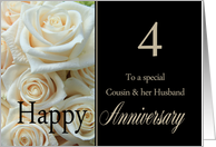 4th Anniversary card for Cousin & Husband - Pale pink roses card