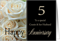 5th Anniversary card for Cousin & Husband - Pale pink roses card