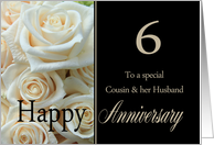 6th Anniversary card for Cousin & Husband - Pale pink roses card